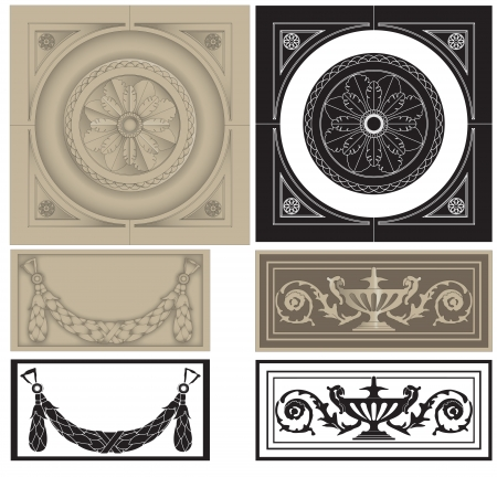 panels: Illustration of  classic architectural elements, panels