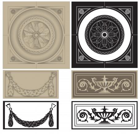 architectural elements: Ilustraci�n de los elementos arquitect�nicos cl�sicos, paneles