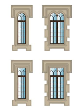 Set of Gothic windows with stone 일러스트