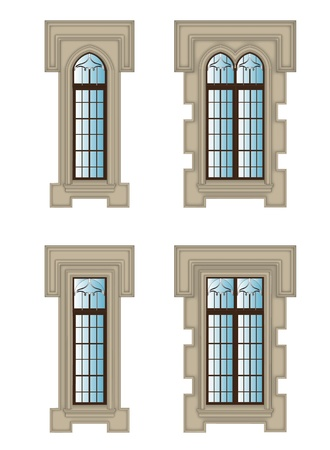 Set of Gothic windows with stone Vector
