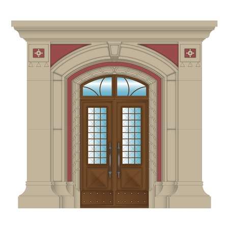 vector image of stone entrance of house classic style