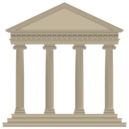 architrave: RomanGreek Temple with ionic columns, high detailed