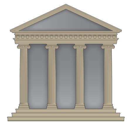 RomanGreek Temple with ionic columns, high detailed with outline Vector