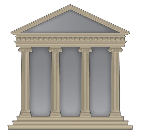 templo griego: Templo romano  griego con columnas jónicas, altas detalla con contorno