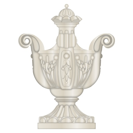 chipped: Classical stone Urn, vase, from limestone, vector eps
