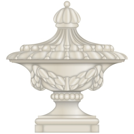 Classical stone Urn, vase, from limestone Vector