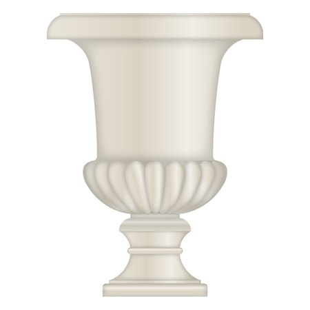 chipped: Classical stone Urn, vase, from limestone Illustration