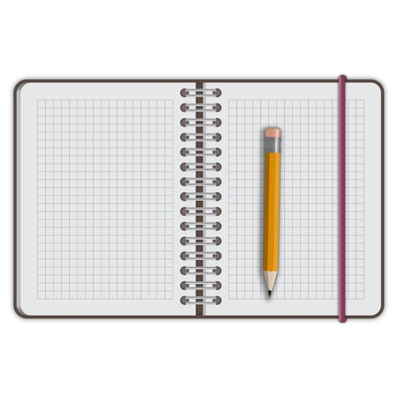 note book paper with pen isolated