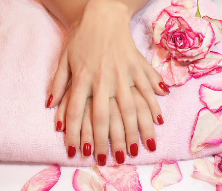 laque: Young woman hands with red manicure rose