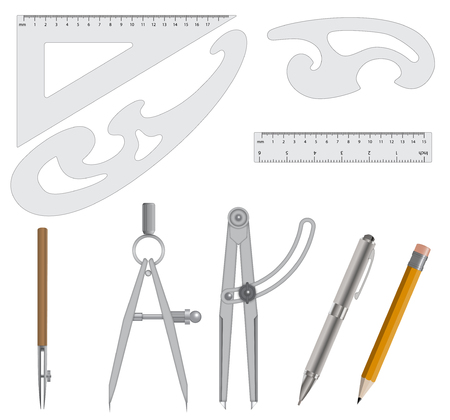 Measurement and deawing scool Instrument Set  Vector