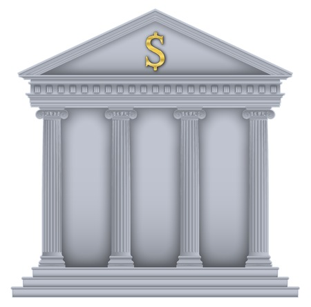 Roman Greek Temple with ionic columns, money symbol , high detailed with outline