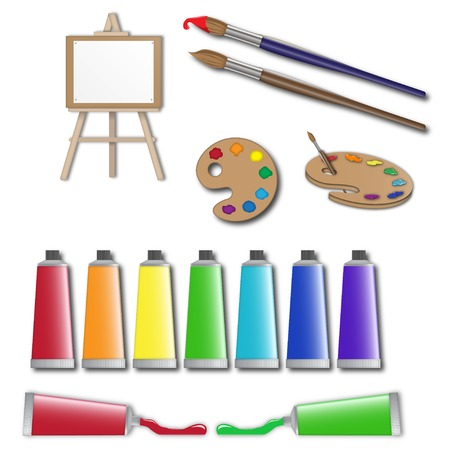 paper arts and crafts: artists supplies icons, painter tools, equipment