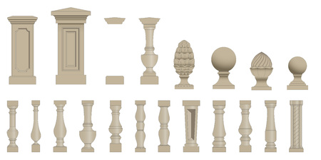 roman pillar: Set  of random style balusters with stands Illustration