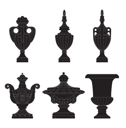 urns: set of classic urns, planters  in 6 variation