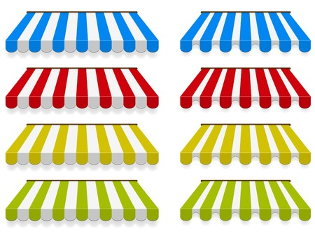 Colored awnings  Vector set  two different types Vector