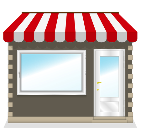 Cute shop icon with red awnings  Illustration  Illustration