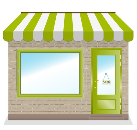 front door: Cute shop icon with green awnings brick wall  Illustration  Illustration