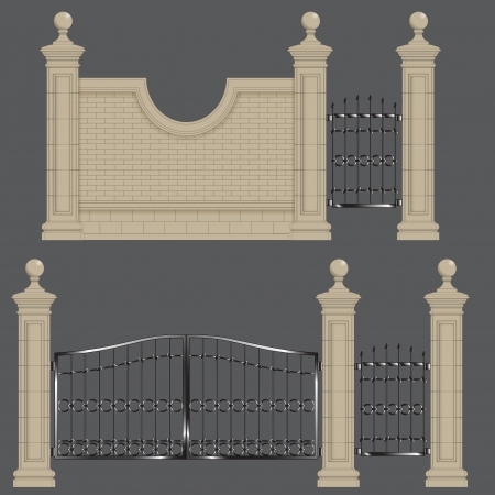 gateway: garden gateway, stone pillars with forged gate and brick wall