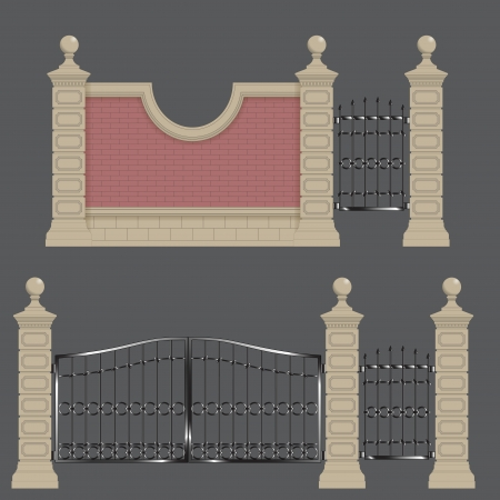 garden gateway, stone pillars with forged gate and brick wall Vector
