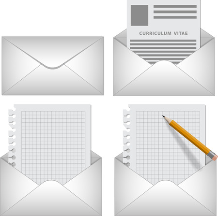 curriculum vitae: Vector set envelope icon with letter, curriculum vitae, blank on white background   Illustration