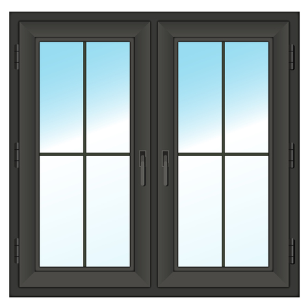 dark farme closed  double window isolated on white  Vector illustration  Vector