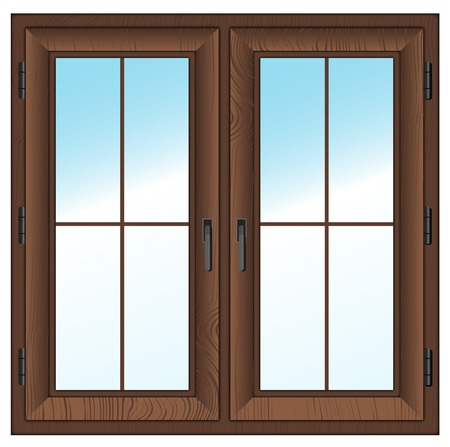 wooden textured closed window isolated on white illustration