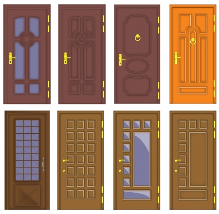 Classic interior and front wooden doors  Illustration