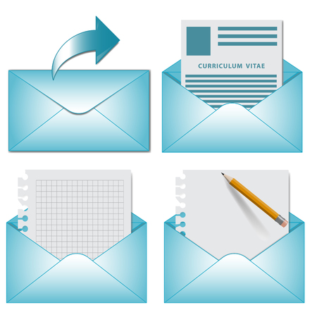 curriculum vitae: set envelope icon with letter, curriculum vitae, blank on white background