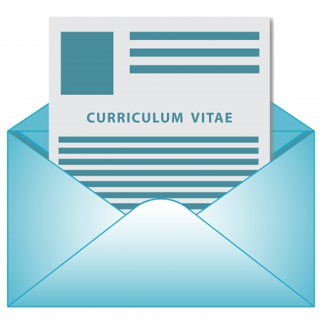 curriculum: Curriculum vitae  resume  in opened envelope concept