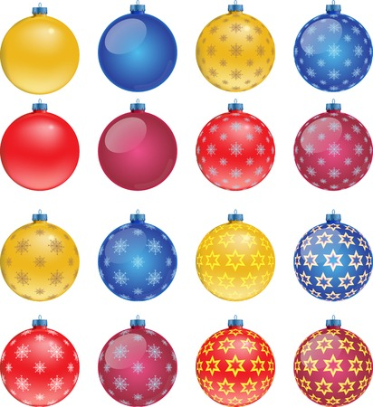 Set of colorful Christmas balls on white background, illustration Vector
