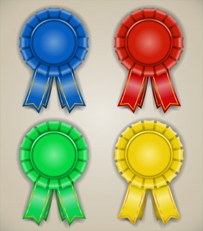 blank awarded emblems with ribbons high detailed isolated Vector