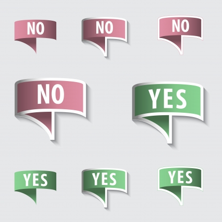 YES & NO Check marks Buttons set Vector