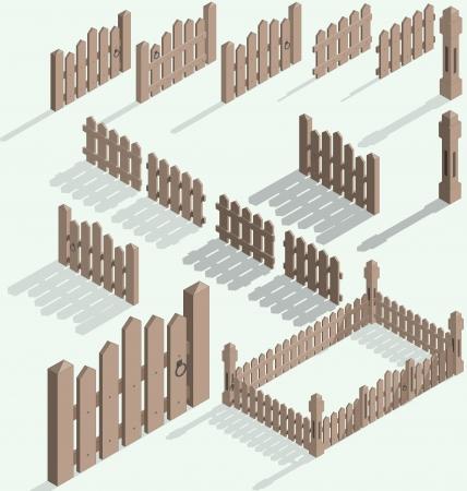 isom�trique: Illustration isom�trique ensemble de cl�ture, kit de construction avec l'ombre