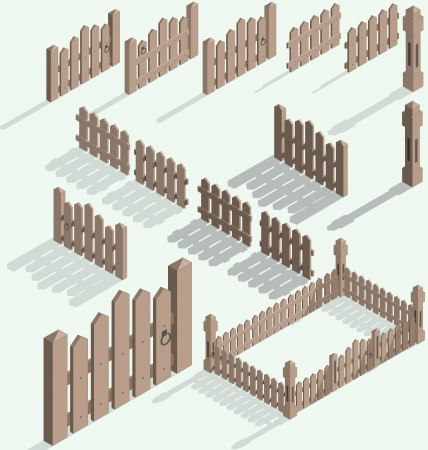Vector isometric fence set, construction kit with shadow