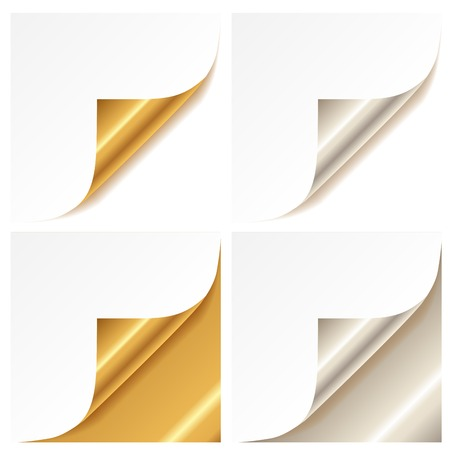 Curled golden and silver page corner set Vector