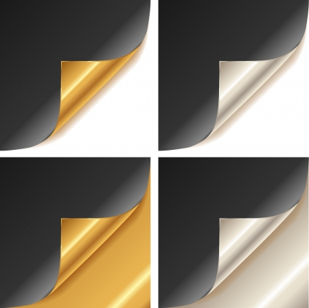 chamfer: Curled golden and silver page corner set black paper