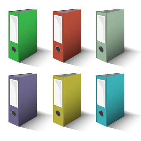 colored Files and Folders Vector set perspective