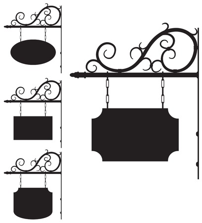 hanging sign: Vector wrought iron outline signs for old-fashioned design