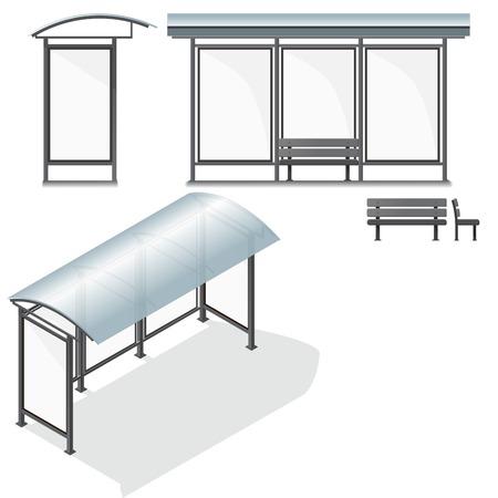 Bus Stop. Empty Design Template for Branding. Vector Illustration