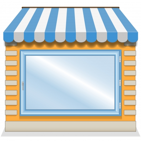 frontdoor: Cute shop icon with blue awnings. Illustration.