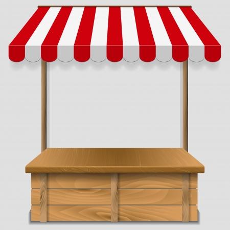 store window: etalage met gestreepte luifel - vectorillustratie