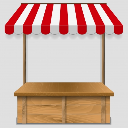 an awning: store  window  with striped awning  - vector illustration