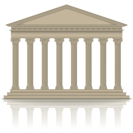 Roman/Greek pantheon with Corinthian columns, high detailed