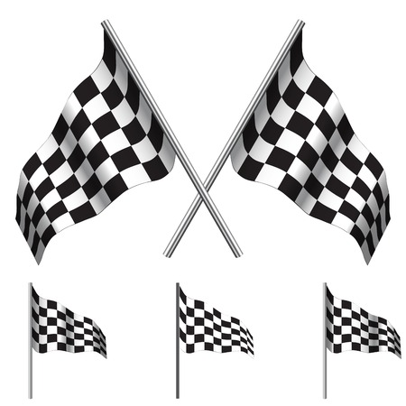 crossed checkered flags: crossed Checkered Flags (racing flags). Vector illustration.