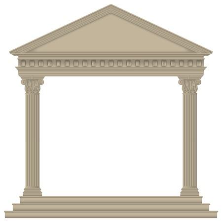 詳細高コリント式の柱が付いているローマギリシャ語寺院
