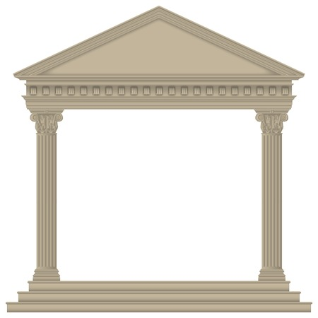 RomanGreek Temple with Corinthian columns, high detailed Vector