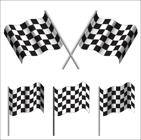 crossed Checkered Flags (racing flags). Vector illustration.