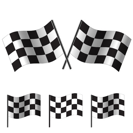 two crossed checkered flags: crossed Checkered Flags (racing flags). Vector illustration.