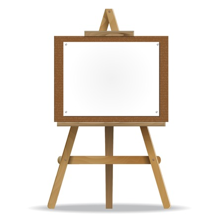 A white canvas on an easel. high detailed