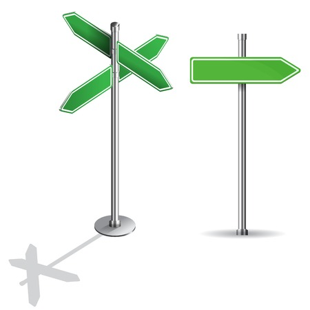 blank road sign: blank signs pointing in opposite directions isometric